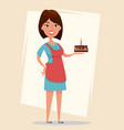woman holding tasty cake with burning candle for vector image