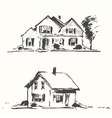 Architect draft houses drawn vector image
