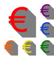 euro sign set of red orange yellow green blue vector image
