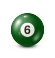 billiardgreen pool ball with number 6snooker vector image