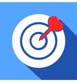 Dart in the dartboard center icon vector image