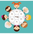 big family around passover plate pesah in hebrew vector image