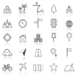 Location line icons with reflect on white vector image