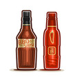 bbq and chilli sauce bottles vector image