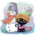 cute kitten and snowman vector image
