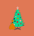 flat on background of christmas tree vector image