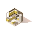 isometric low poly kitchen room icon vector image