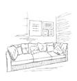Room interior sketch Hand drawn sofa vector image