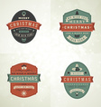 Set of Retro Vintage Typographic Merry Christmas vector image