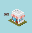 store with sunshade striped red and white over vector image