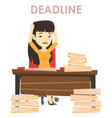 business woman having problem with deadline vector image