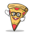 geek face pizza character cartoon vector image