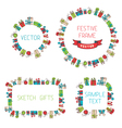 Festive hand drawn frames vector image