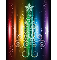 Card with Decorative Christmas Tree vector image