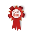 Realistic red fabric award ribbon badge vector image