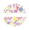 Bright flowers round frame vector image