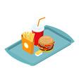 Fast food set on tray isometric Frying potatoes vector image