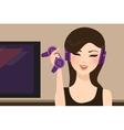 girl gamer holding joy stick wearing head set vector image