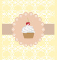 muffin on ornament background vector image