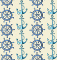 Seamless pattern of sea anchors and wheels vector image