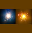 star on a blue backgroundbright flashrealistic vector image