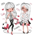 Two Cute cartoon girls with bags vector image