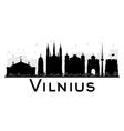 Vilnius City skyline black and white silhouette vector image