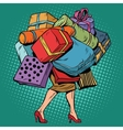 Woman and a lot of holiday shopping sales vector image