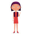 cute girl waving funny cartoon character vector image