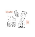 hand drawn abstract graphic animals set vector image