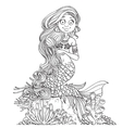Lovely mermaid combing her long hair outlined vector image vector image