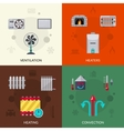 Heating Ventilation And Con Icons Set vector image