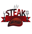 steak sign and logo vector image vector image
