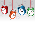 alarm clocks on gray vector image