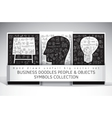 Business doodles people and objects symbols set vector image