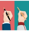Hand with pencil and pen vector image