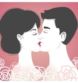 Kissing young couple on pink background vector image