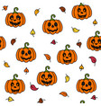 pumpkin and leaf autumn halloween seamless pattern vector image