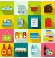Supermarket icons set flat style vector image