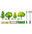 trees and fence designs vector image