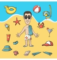 Vacation travel character construction pack vector image