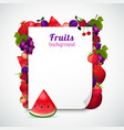 sheet of paper decorated fruits vector image