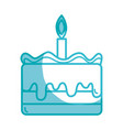 Silhouette tasty cake desset with candle to eat vector image