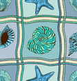 Marine patchwork seamless pattern vector image