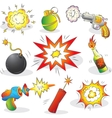 Set of Explosives and Weapon vector image