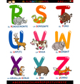 cartoon spanish alphabet with animals vector image