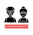 grandparents thin line icons linear vector image