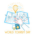 greeting card world tourism day vector image
