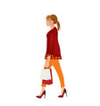 modern woman carrying a shopping bags vector image