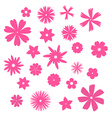 Pink flowers silhouettes set vector image